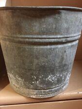 "Vintage Galvanized Steel Bucket Pail Rusty Bottom 9"" Tall 10.5"" Wide"