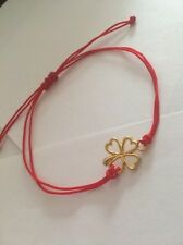 Clover Gold Red Thread Luck Handmade Bracelet