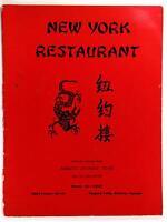 1960's Original Menu NEW YORK Chinese Restaurant Niagara Falls Ontario Canada