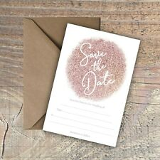 Personalised Save the Date Card ROSE GOLD EFFECT packs of 10