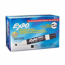 Expo Low Odor Chisel Tip Dry Erase Markers Black 12 Pack 80001 NEW