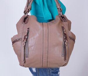 B. MAKOWSKY Large Beige  Leather Shoulder Hobo Tote Satchel Purse Bag