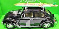 Vw escarabajo 1969 negro con tabla de surf coche a escala 1 24 / Welly