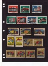 Made in Czechoslovakia array of 18 vintage Matchbox Labels #5 buildings tractors