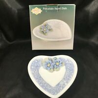 Blue Floral Porcelain Heart Shaped Dish