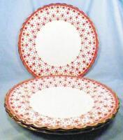 3 Spode Fleur de Lys Dinner Plates Y7481 Red Bone China Gold Trim Lis Plate