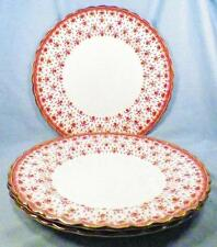 3 Spode Fleur de Lys Dinner Plates Y7481 Red Bone China Gold Trim Lis Plate