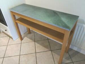 Modern Oak Console Table Kitchen Side Table Granite Marble Top - Northants