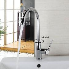 Us Deck Mount Single Hole 360 ° Swivel Kitchen Chrome Faucet Mixer Spout Taps