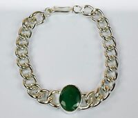 Emerald Gemstone Bracelet Men's Fashion Stainless Steel Natural -IN-27