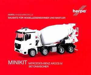 HERPA MiniKit 1:87/H0 Mercedes-Benz Arocs M, Betonmischer, weiß, Bausatz #013147