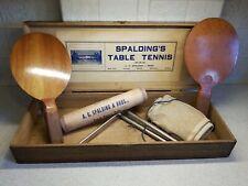 Vintage SPAULDING BROS. Ping Pong Table Tennis set Original Oak Box EXCELLENT!!!