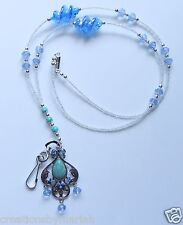 TURQUOISE HOLLOW FLOWER SILVERY ALLOY ID BADGE  BREAKAWAY LANYARD (LY013)