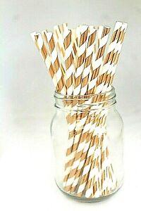 25 x Paper straws rose gold stripe. wedding, party. UK SELLER, UK STOCK