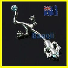 14G Gecko Lizard Stainless Navel Belly Bar Ring Button Body Jewelry Art 1.6mm
