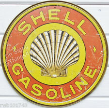 Shell Gasoline ROUND TIN SIGN oil gas pump & garage decor logo metal vtg ad 1964