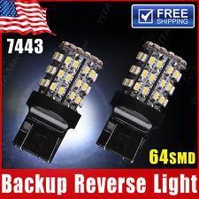 2X White 7443 Backup Reverse LED Light Bulbs 64-SMD 7440 7444 7441 992 992A W21W