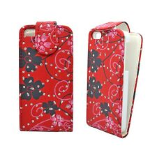 CASE FOR APPLE IPHONE 4/4S GLITTER FLIP RED PINK BLACK FLOWER SWIRL PHONE COVER