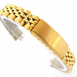 CONDOR 14mm  WATCH BRACELET GOLD, SATIN & POLISHED LINKS WITH CURVED ENDS