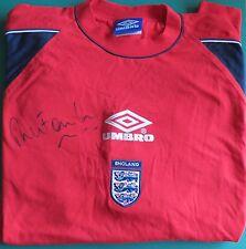 Robbie Fowler Signed England Training Football Shirt Unframed AFTAL RD#175