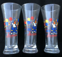 Set of 3x Spuds MacKenzie Bud Light Fluted Beer Glasses Glass 1987 Budweiser