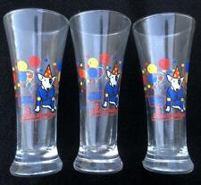 Set of 3x Spuds MacKenzie Bud Light Fluted Beer Glasses Glass 1987 Budweiser