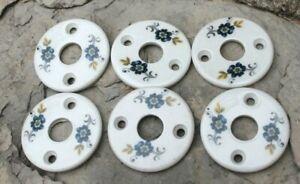 6 petites plaques en porcelaines décorées pour poignée de porte