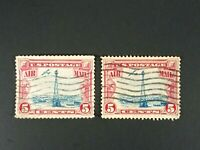 US Postage Stamp Air Mail 5 Cents Carmine Blue Airplane and Tower Lot of 2 Stamp