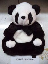 """Panda Backpack Soft Furry Black & White 15"""" x 11"""" x 6"""" NIP New School Year Bag"""