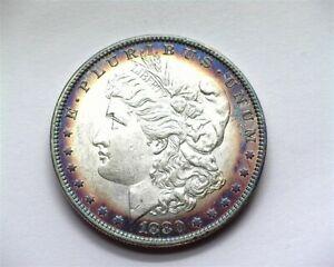 1880-O MORAN SILVER DOLLAR NEAR GEM UNC+ INCREDIBLE TONING!! RARE THIS NICE!!