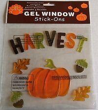Fall Window Gel  HARVEST w/ Pumpkins,Acorns & Leaves