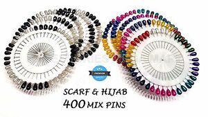 HIJAB ABAYA SCARF HAT SHAWL PEAR SHAPED 400 MULTI COLOR BLACK WHITE SAFETY PINS