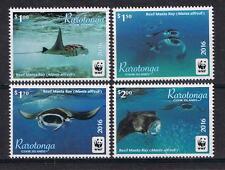 Rarotonga - WWF Reef Manta Ray 2016 Set of Single Stamps