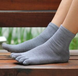 5/10 Pairs Mens 85% Bamboo five finger socks toe socks Sports Breathable Soft