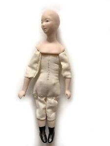 "Vintage Miniature Dollhouse Doll Porcelain 5 1/8"" Cloth Body Female RU16"
