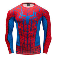 Sports Spider man T-shirt Long Sleeve Quick Dry Running Clothing Fitness Tops