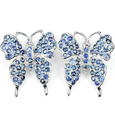 Sterling Silver 925 Genuine Natural Sapphire Gemstone Butterfly Design Earrings
