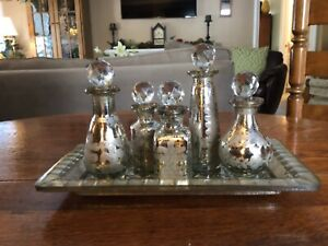 VTG Mercury Silver Glass 5 Bottles Embossed w Tray Old World Shabby Chic Decor