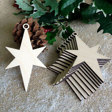 CHRISTMAS STARS Wooden Decoration Tag Craft Project Embellishment x 10 Shapes