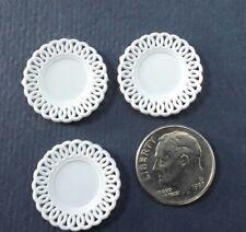 Dollhouse Miniature Chrysnbon set 3 White Lace Edge Plates  1:12 scale