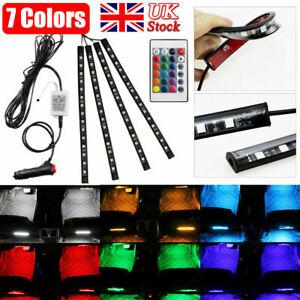 4Pcs 12 LED RGB Car Interior Atmosphere USB Lights Strip Colours Decor Lamps 12V