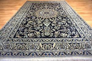 Schöner feiner Nain mit Seide 240x160 cm Orient Teppich Rug 4992 Ghom Bidjar