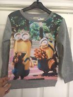 Girls minion sweatshirt fleece top jumper sweater, Soft, Hotdog NEW Age 3 4 6 8