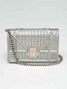 Christian Dior Metallic Silver Micro Cannage Leather Baby Diorama Flap Bag
