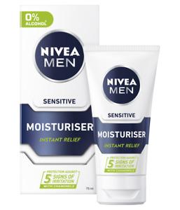 Nivea Men Sensitive Face Instant Relief Moisturiser Cream 75ml with 0% Alcohol
