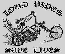 Vintage 'LOUD PIPES SAVE LIVES' Outlaw Motorcycle Shirt!  M - Super Seventies