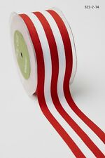 MAY ARTS RIBBONS~GROSGRAIN STRIPE~CHIC RED & WHITE~2 INCHES WIDE~SOLD BTY!