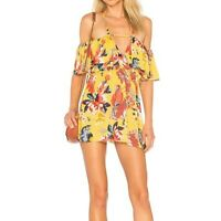 NWT Tularosa Ava Mini Cold Shoulder Dress in Golden Parrot Size Medium