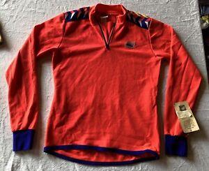 VTG BRAND NEW NWT MEN'S CYCLING SHIRT NEON PINK RETRO BLUE BRIGHT 1/4 ZIP JERSEY