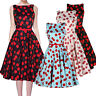 PRETTY KITTY ROCKABILLY 50s RED VINTAGE STYLE PIN UP PARTY SWING PROM DRESS 4-16